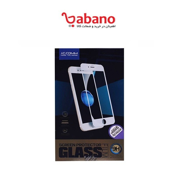 گلس شیشه ای فول J.C.COMM مناسب برای گوشی آیفون 6 و 6s