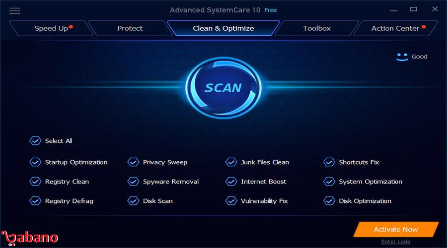نرم افزار optimizer برای کامپیوتر:نرم افزار IObit Advanced SystemCare Free: