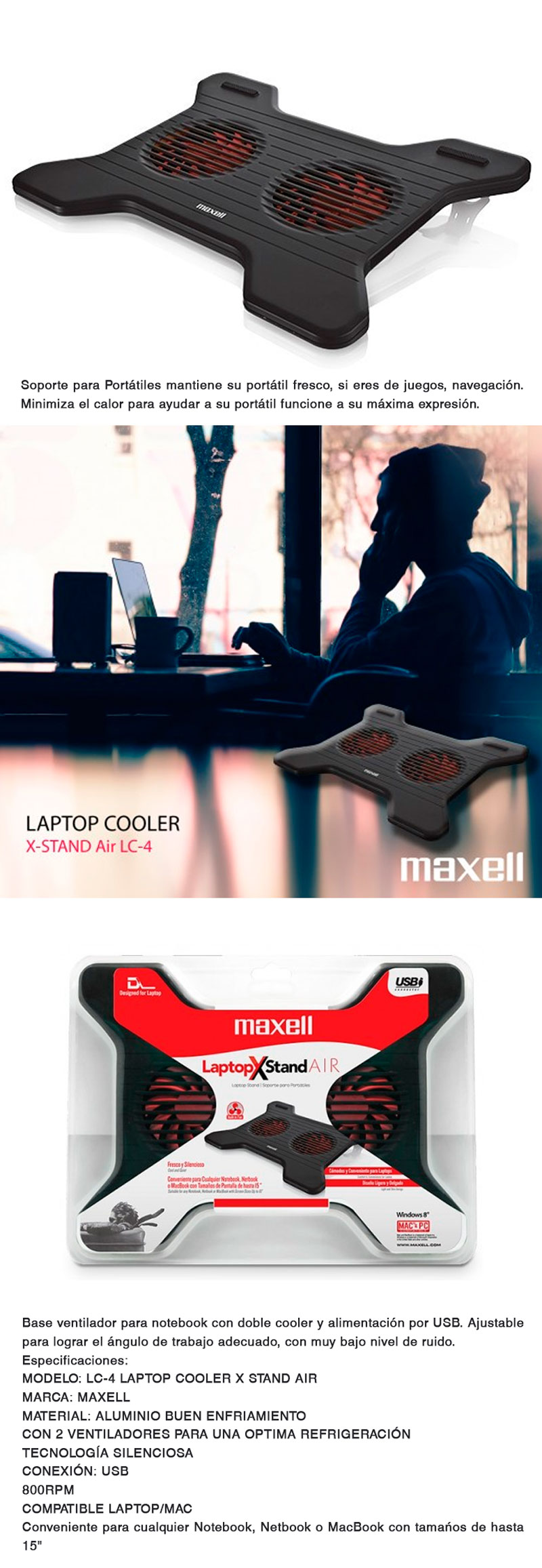 Maxell X-Stand Air LC-4 Laptop Cooler Cooling Pad