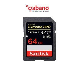 کارت حافظه SDXC سن دیسک مدل Extreme Pro V30 کلاس 10 استاندارد UHS-I U3 سرعت 170mbps ظرفیت 64 گیگابایت